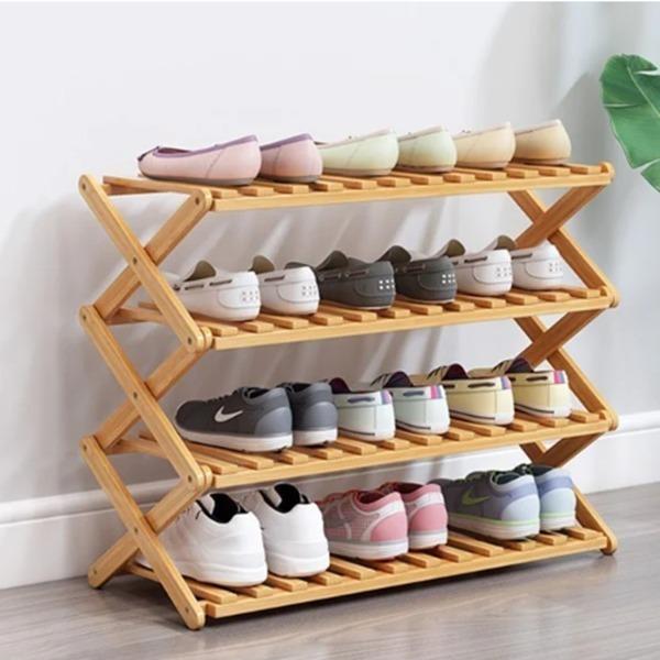 Kệ giày đa năng gp72 có giá giảm đến 47% còn 320.000 đồng (giá gốc 600.000 đồng). Kệ dài 70 cm, rộng 25 cm và cao 69 cm, gồm bốn tầng, chứa khoảng 12 đôi giày, dép. Kệ làm từ chất liệu gỗ tre ép, có thể xếp gọn lại khi chưa sử dụng.