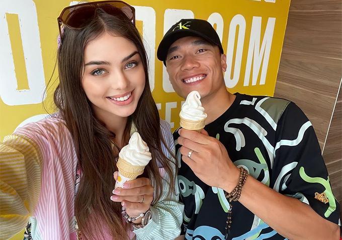 Bùi Tiến Dũng và bạn gái Dianka đang rất mặn nồng sau hơn nửa năm yêu nhau. Ảnh: Instagram.