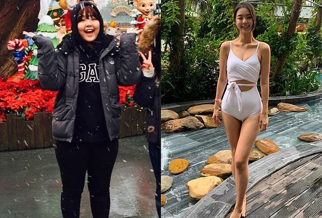 Seo Yu Jin trước và sau khi giảm cân.