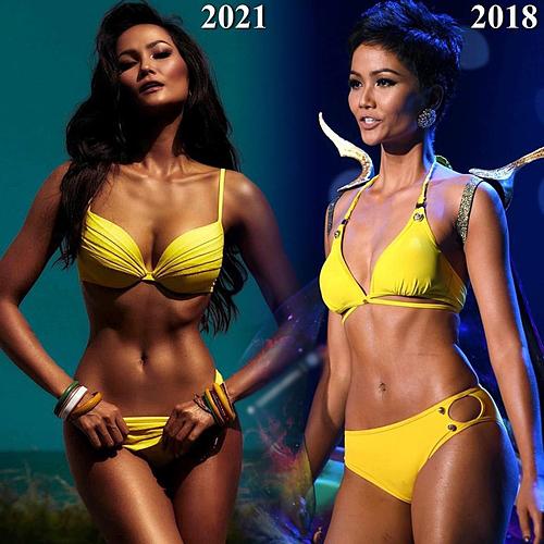 Sự thay đổi về vẻ đẹp hình thể của HHen Niê năm 2018 và 2021. Cô được khen ngày đẹp hoàn hảo hơn.