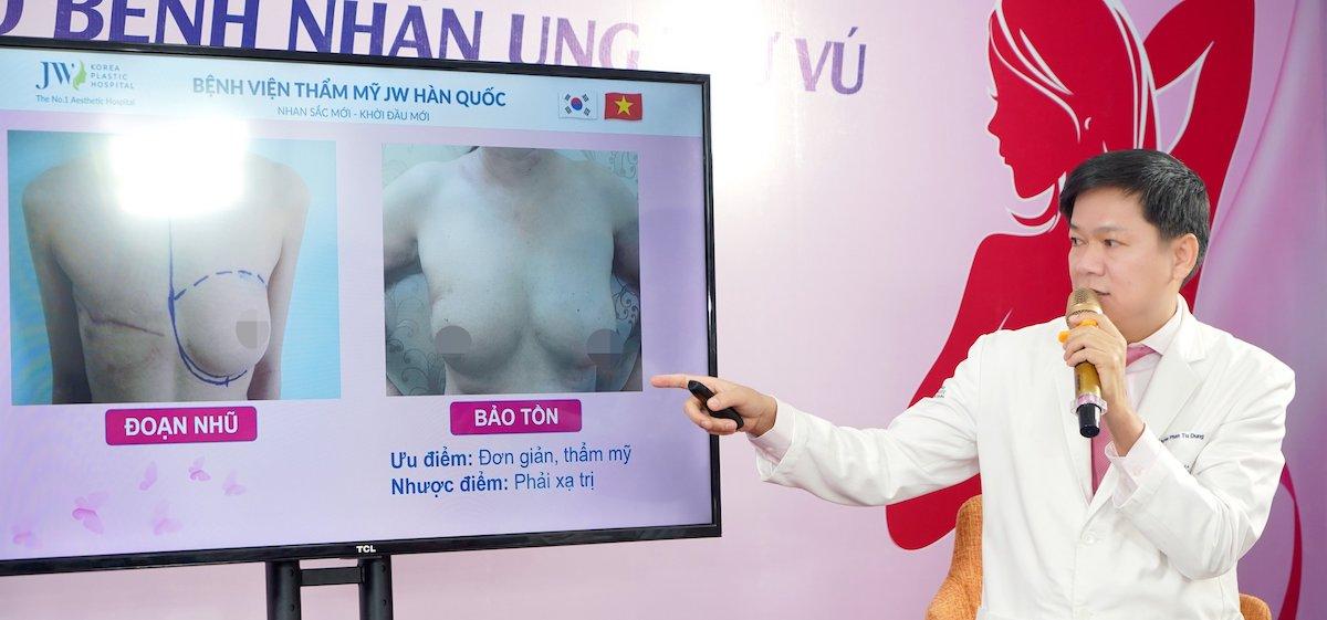 Bác sĩ Tú Dung cho biết cảm thông nỗi đau của bệnh nhân sau cắt tuyến vú là động lực khởi chạy dự án Tái tạo ngực cho bệnh nhân ung thư vú.