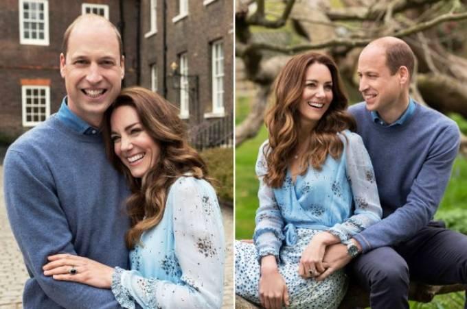 Cặp vợ chồng cười rạng rỡ trong ảnh chân dung chính thức được họ chia sẻ tối 28/4 nhân kỷ niệm 10 năm cưới. Ảnh: Camera Press.