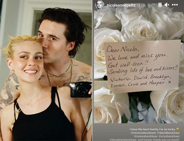 Vợ sắp cưới Brooklyn đăng ảnh chụp hoa và lời nhắn chúc mau khỏe từ gia đình Becks. Ảnh: Instagram.