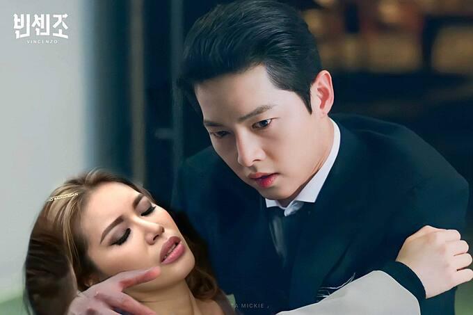 Siêu mẫu Minh Tú ghép ảnh không hề giả trân với nam diễn viên điển trai xứ Hàn Song Joong-ki và hài hước nói: Sài Gòn mấy nay nắng quá, em bị tim, em mệt, em xỉu nên cho phép em được ngã vào lòng anh.