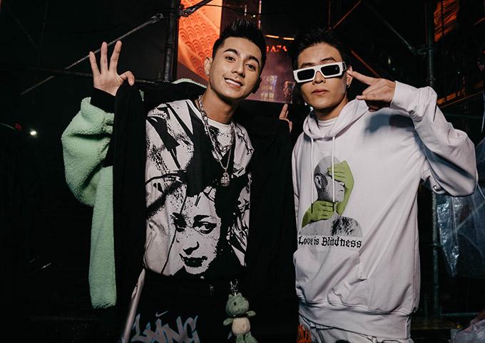 Rapper Lăng LD (trái) và ca sĩ Khoa.