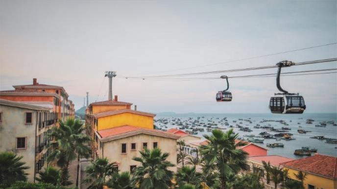 Cáp treo Hòn Thơm là một trong những cáp treo vượt biển dài nhất thế giới. Ảnh: