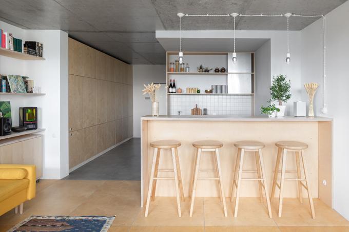 Ngân sách hạn chế nên quyết định cho vật liệu, các phương án kỹ thuật hoàn thiện căn hộ đều đơn giản. Chủ nhà đã tham gia tích cực vào dự án từ khâu thiết kế đến lắp đặt nội thất. Là một kỹ sư, anh đã đưa ra các giải pháp kỹ thuật.