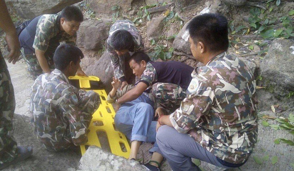 Wang Nan khi được phát hiện và đưa tới bệnh viện nhỏ ở khu vực hẻo lánh tỉnh Ubon Ratchathani, Thái Lan. Ảnh: SCMP.