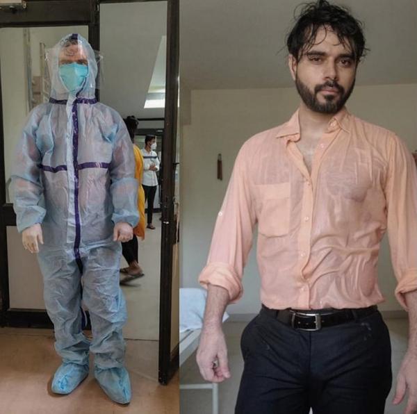Bác sĩ Mawana trước và sau khi cởi đồ bảo hộ. Ảnh: Twitter.