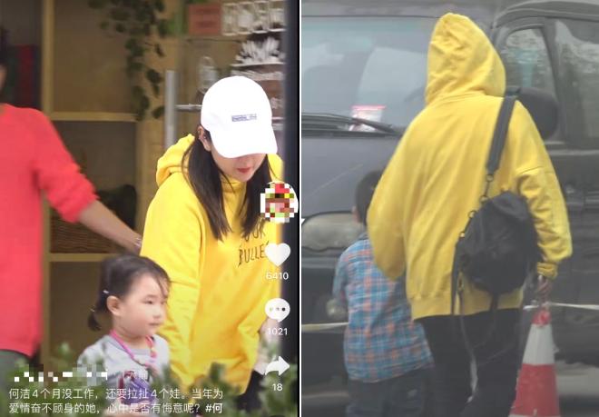 Hà Khiết đưa hai con đi học.