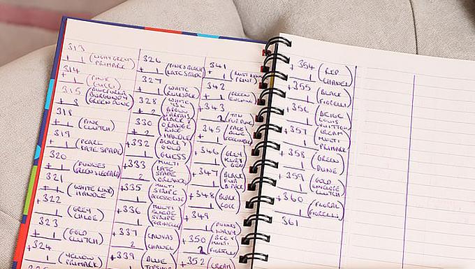 Cô còn viết ghi chú chi tiết về thông tin của từng món phụ kiện yêu thích.