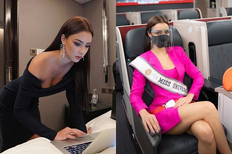 Ban tổ chức Hoa hậu Hoàn vũ Thái Lan thể hiện sự đầu tư nghiêm túc, chỉn chu cho đại diện Amanda Obdam. Dù chỉ từ khách sạn ra sân bay, người đẹp 28 tuổi diện hai bộ váy hàng hiệu khác nhau, kết hợp khẩu trang và mũ chắn giọt bắn để đảm bảo quá trình di chuyển.