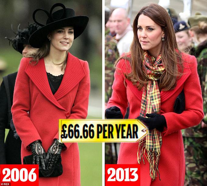 Armani coat  Lần đầu tiên được mặc vào năm 2006 cho cuộc diễu hành của William qua đời tại Sandhurst và bảy năm sau đó cho lễ đính hôn khi Kate mang thai với George, chắc chắn chỉ còn là vấn đề thời gian trước khi chiếc áo khoác Armani sáng màu này (1.000 bảng Anh) được trao cho một chuyến đi chơi khác