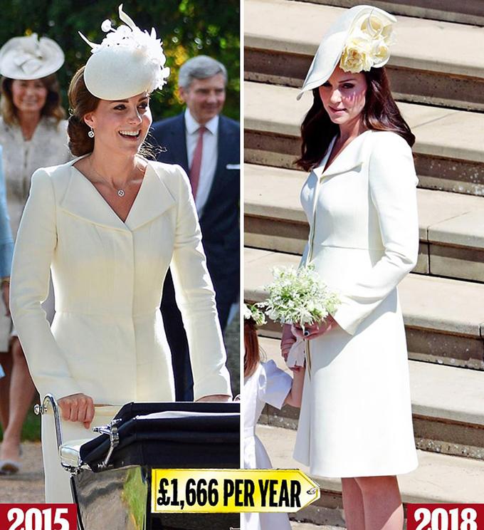 Alexander McQueen white Không bao giờ bị đánh giá thấp, Kate đảm bảo không ăn cắp buổi biểu diễn trong đám cưới Windsor 2018 của Harry và Meghan (phải) bằng cách mặc một bộ trang phục - một chiếc áo khoác và váy Alexander McQueen màu kem trị giá £ 10.000 - cô đã ra mắt trong lễ rửa tội của con gái Công chúa Charlotte vào năm 2015 (trái)