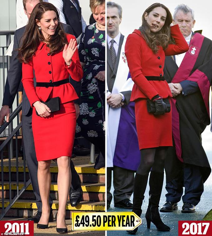 Luisa Spagnoli skirt suit  Không lâu trước khi kết hôn, Kate và hôn phu William đã đến thăm trường cũ của họ, St Andrews, để kỷ niệm 600 năm thành lập. Cô ấy mặc một bộ quần áo váy Luisa Spagnoli nổi bật (£ 495), và đã mặc nó nhiều lần kể từ đó - bao gồm cả việc đến thăm một trường học ở Bắc London vào năm 2017