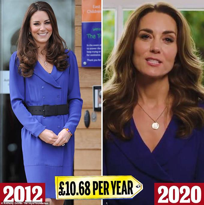 Reiss blue dress  trong một video trên Instagram vào tháng 11 năm ngoái (bên phải), Kate đã mặc chiếc váy Reiss (139 bảng Anh) mà cô đã mặc vào năm 2012 cho bài phát biểu đầu tiên với tư cách là hoàng gia. Thậm chí sau đó đây không phải là lần đầu tiên chúng tôi nhìn thấy nó trên một chiếc Middleton - mẹ Carole đã mặc nó cho Ascot vào năm 2010, mặc dù nó là từ bộ sưu tập năm 2008 của thương hiệu
