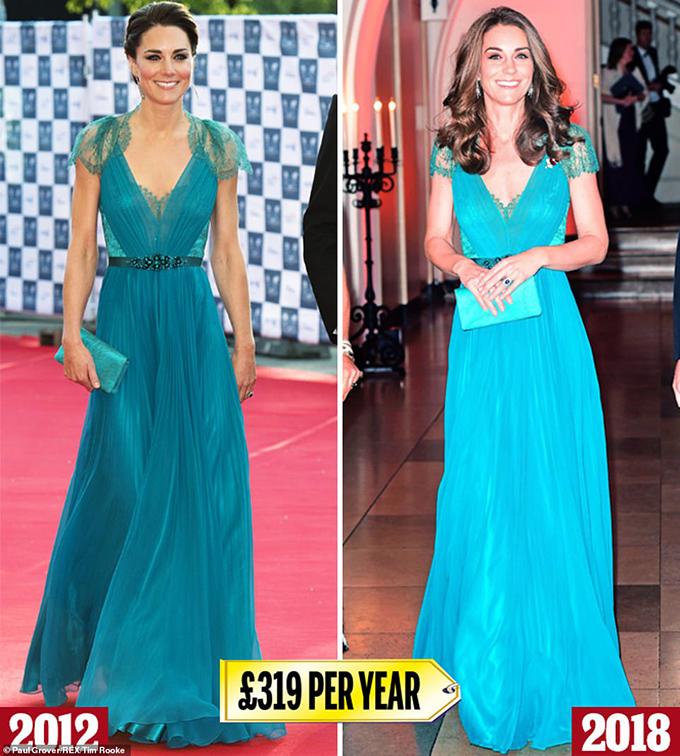 Jenny Packham  Kate đã mặc chiếc váy màu xanh mòng két này của Jenny Packham (£ 2,875) cho buổi dạ tiệc trước Thế vận hội London và mặc lại vào năm 2018 cho một sự kiện của tổ chức từ thiện động vật hoang dã Tusk