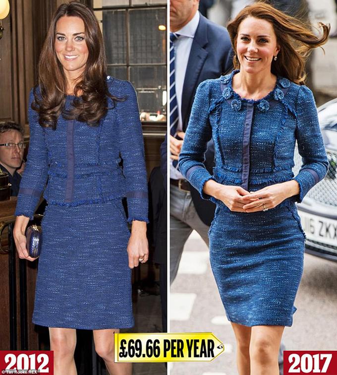 Rebecca TaylorVới một đường chỉ lấp lánh chạy qua vải tuýt, bộ đồ Chanel-esque Rebecca Taylor (£ 627) này được Kate diện lần đầu tiên vào tháng 4 năm 2012 tại một buổi tiệc chiêu đãi ở London (trái). Cô ấy mang nó ra một lần nữa để thăm những người sống sót sau vụ tấn công khủng bố ở Cầu London