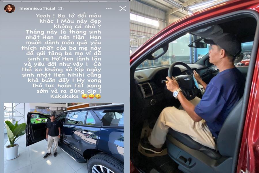 HHen Niê chia sẻ về việc mua ôtô tặng bố trên trang cá nhân.