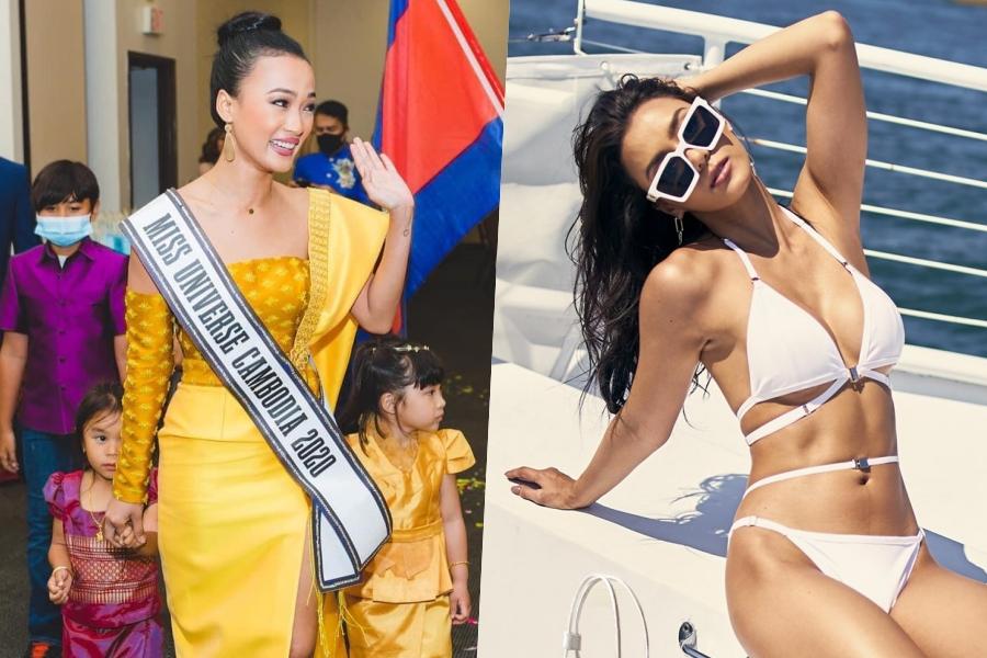 Thí sinh Cambodia (trái) gặp đồng hương, còn người đẹp Thái Lan nghỉ dưỡng trên du thuyền khi đến Mỹ.