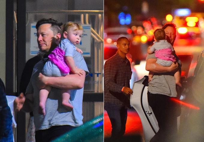 Elon Musk bế con trai khi đáp xuống sân bay ở New Jersey.