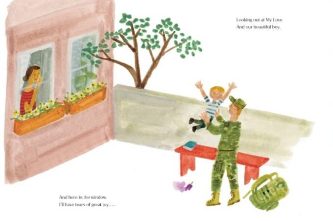 Một trong số 40 trang sách của cuốn The Bench do Meghan làm tác giả minh họa cảnh một sĩ quan quân đội trở về từ chiến trường. Ảnh: PA.