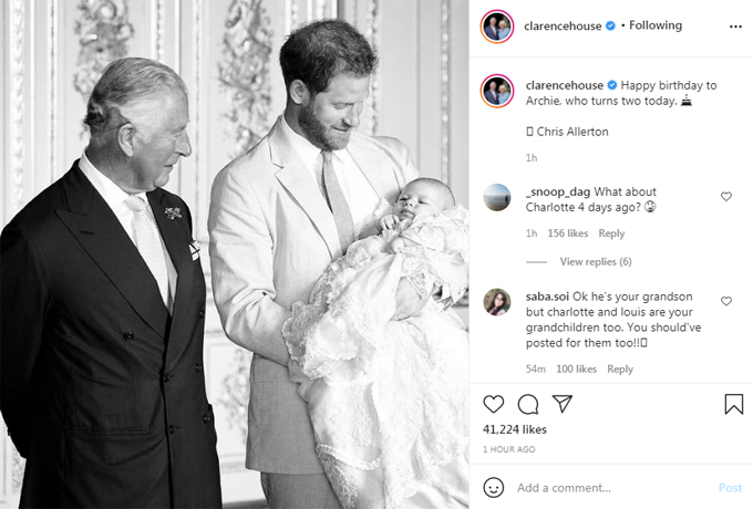 Bài đăng chúc mừng sinh nhật Archie của tài khoảnh Instagram của Thái tử Charles và bà Camilla.
