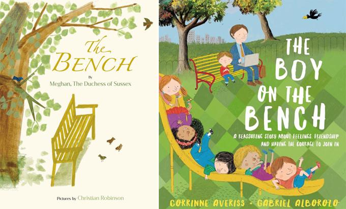 Bìa cuốn The Bench của Meghan (trái) và bìa cuốn The Boy on The Bench của Corrinne Averiss. Ảnh: Amazon.