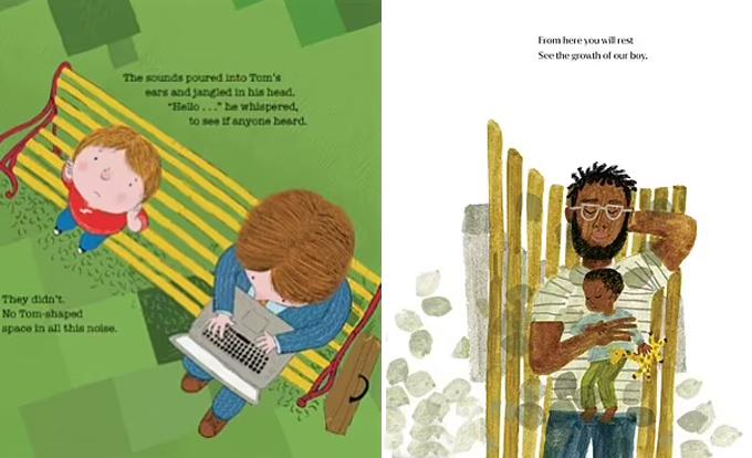 Một bức tranh minh họa hai cha con nhìn từ trên cao có ý tưởng được cho là hơi giống nhau của cuốn The Boy on The Bench (trái) và The Bench (phải). Ảnh: Amazon.