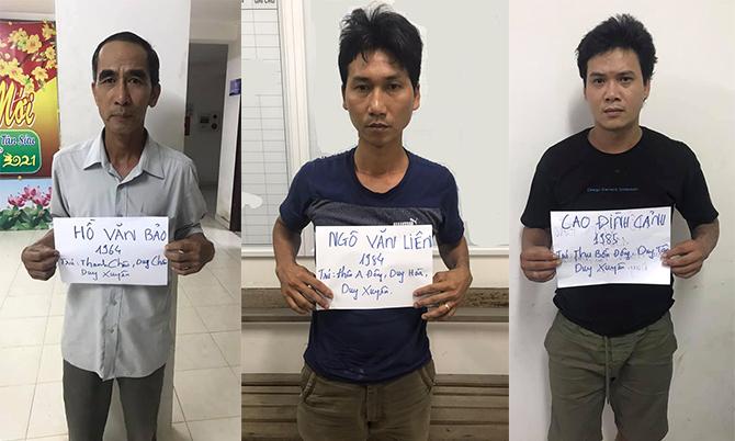 Hồ Văn Bảo, Ngô Văn Liêm và Cao Đình Cảnh. Ảnh. Công an cung cấp.