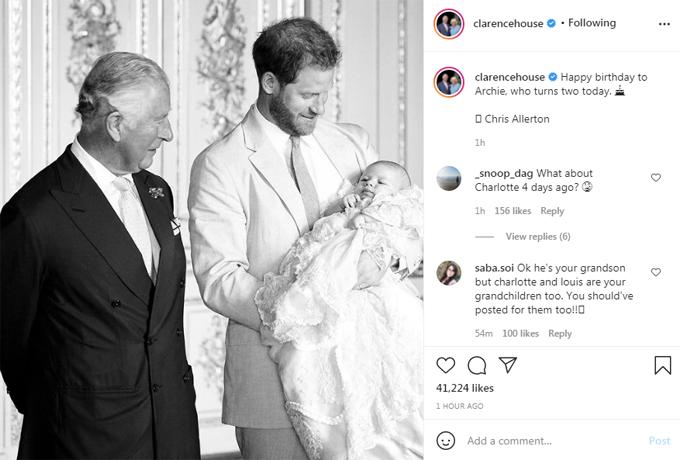 Bài đăng chúc mừng sinh nhật Archie của tài khoản Instagram của Thái tử Charles bị fan chỉ trích vì không chúc mừng Charlotte và Louis. Ảnh: Instagram.