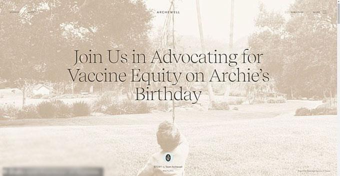 Lời kêu gọi trên trang web Archewell nhân sinh nhật Archie. Ảnh: Archewell.