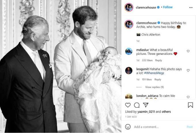 Bức ảnh từ lễ rửa tội của Archie được điện Clarence House của Thái tử Charles sử dụng để chúc mừng sinh nhật Archie 2 tuổi. Ảnh: Instagram.