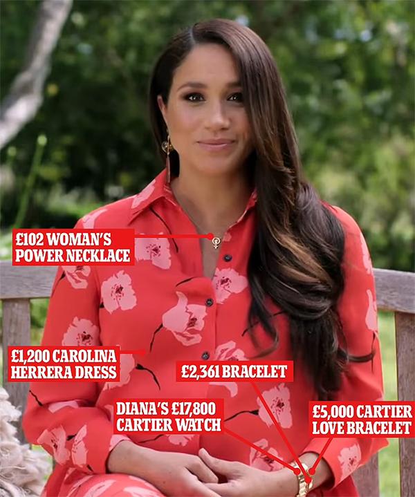 Meghan ghi hình khi diện set đồ hơn 26.000 bảng Anh.