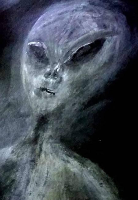Bức ảnh người ngoài hành tinh do bà Paula vẽ theo trí nhớ của mình. Ảnh: Caters News.