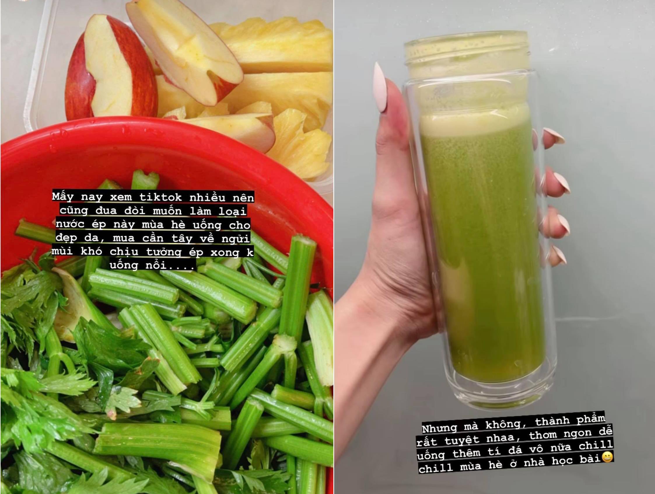 Hoa hậu Đỗ Hà nhập hội uống nước ép cần tây