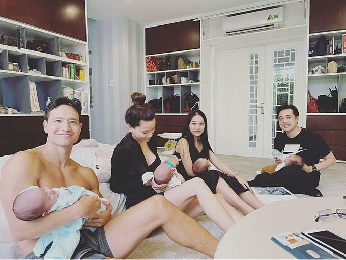 Kim Lý cởi trần khi vợ chồng Dương Khắc Linh - Sara Lưu đến thăm nhà.