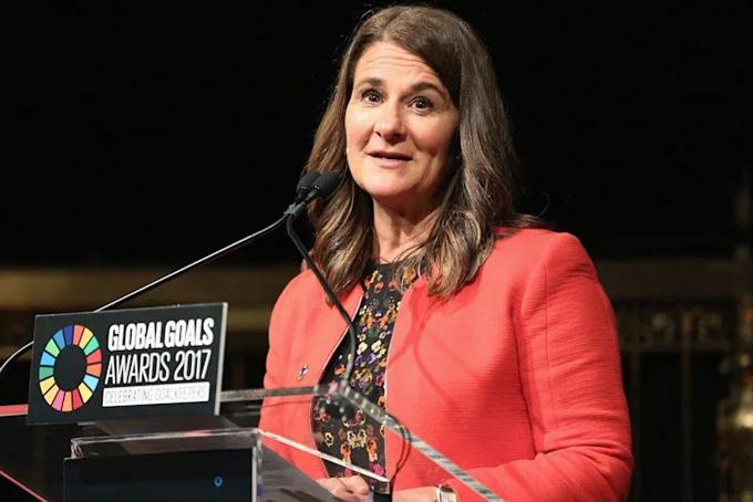 Bà Melinda phát biểu tại sự kiện Global Goals Awards 2017. Ảnh: AP.