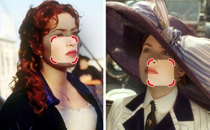Nốt ruồi của nàng Rose (Kate Winslet đóng) từ má trái (lúc nàng chuẩn bị bước lên tàu Titanic) tự động di chuyển sang má phải (khi nàng ở trên tàu).