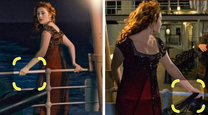 Trong cảnh đứng trên boong tàu Titanic, nàng Rose lúc thì tay không bám vào thành tàu, lúc lại cầm theo đuôi váy.
