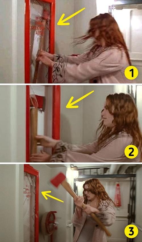 Đây là cảnh Rose đập vỡ tủ cứu hộ, lấy rìu để cứu Jack khi anh bị bắt giữ. Mảng kính góc trên bên phải của chiếc tủ đang còn thành mất rồi quay trở lại.