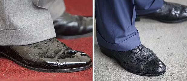 Đôi giày với ba miếng vá được  thân vương xứ Wales sử dụng năm 2009 (trái) và 2018.