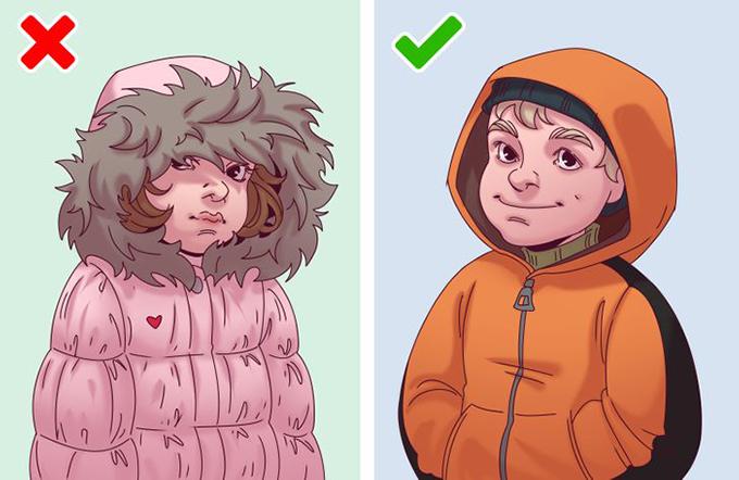 Áo khoác có mũ lớn viền lông dày  Chiếc mũ khổng lồ lòa xòa trước mắt khiến trẻ em khó quan sát và có thể trở thành nguyên nhân gây ra thảm kịch.