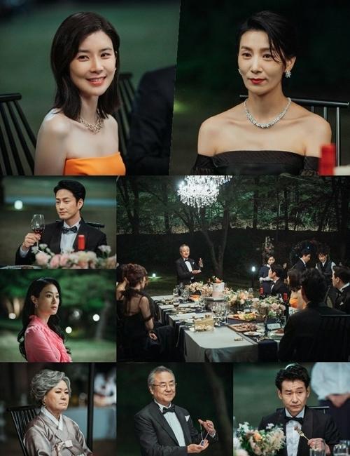 Khung cảnh bữa tiệc xa hoa của gia đình họ Han ở tập 1.