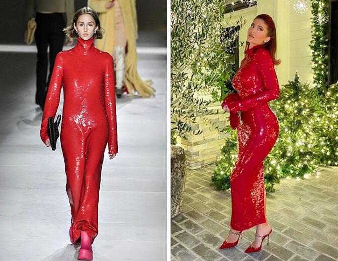 Diện bộ đầm Bottega Veneta ôm sát lấp lánh, Kylie Jenner không chỉ khoe được đường cong bốc lửa mà cách kết hợp dép cao gót mũi nhọn của cô cũng thanh thoát hơn so với nguyên mẫu.