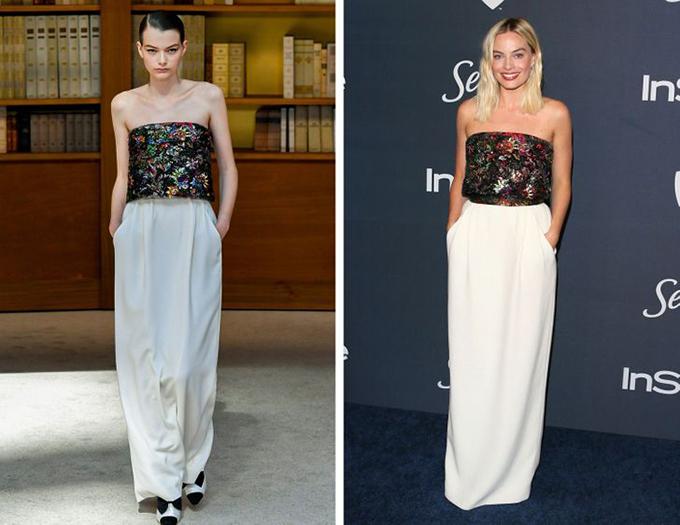 Chanel, Margot Robbie Màu son đỏ của nữ diễn viên hoàn toàn phù hợp với bóng râm của vạt áo tràn.
