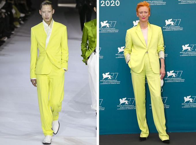 Haider Ackermann, Tilda Swinton không sợ hãi khi mặc bộ đồ màu xanh lá cây tươi sáng này từ bộ sưu tập của nam giới,