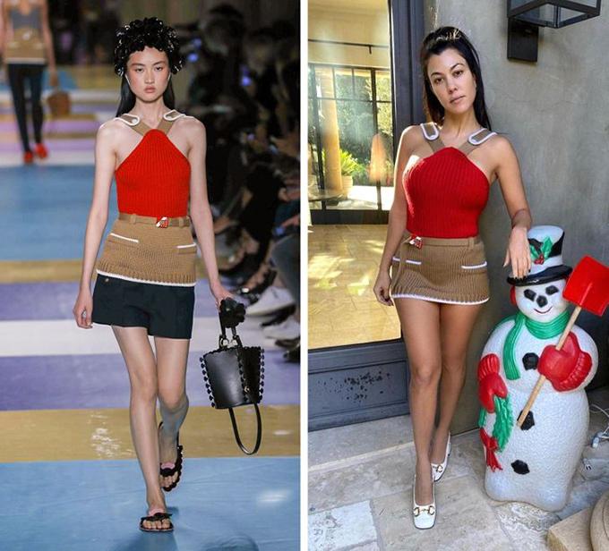 Ngôi sao truyền hình thực tế Kourtney Kardashian quyết định bỏ đi chiếc quần short đen và chỉ mặc mẫu áo Miu Miu như váy ngắn sexy.