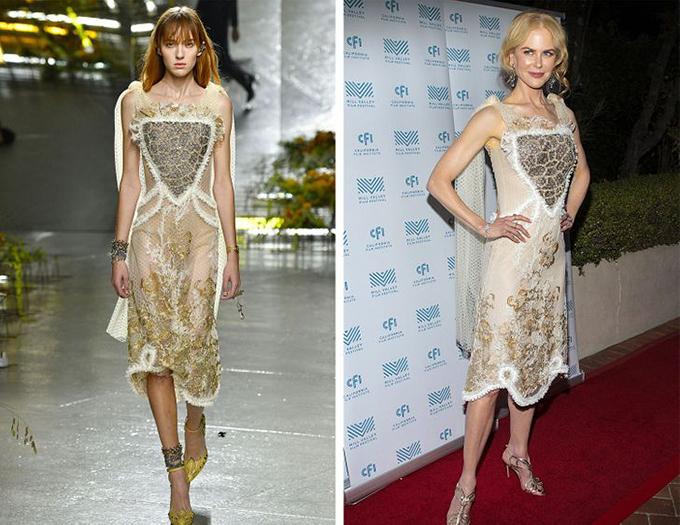 Rodarte, Nicole Kidman đã để kiểu tóc cao để mọi người nhìn thấy bờ vai đẹp của cô ấy. Họa tiết trên đôi dép vàng của cô giống với họa tiết của vạt áo.
