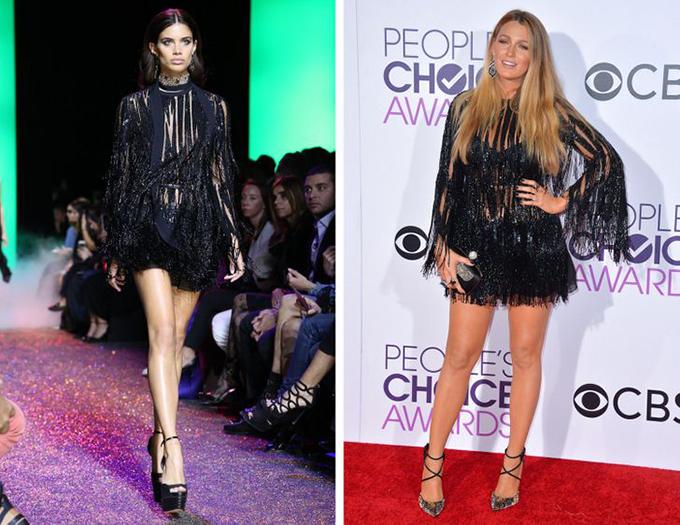 Elie Saab, Blake Lively Nữ diễn viên đã chọn cho mình những đôi giày mùa hè với phần quai mảnh kết hợp hoàn hảo với phần tua rua của chiếc váy.